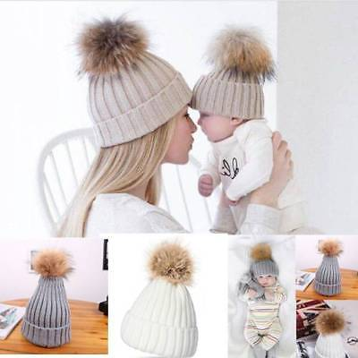 Hat Fur Pom 2Pcs Women Child Knit Beanie Warm Winter Mother Baby Y