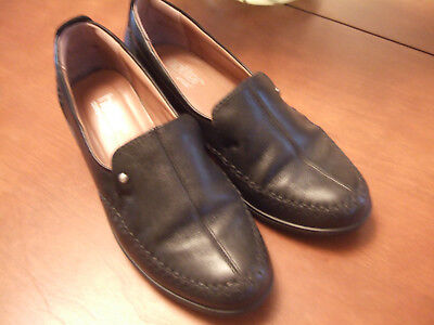 Hotter Ladies Black Soft Leather Slip On Wedge Shoes  Removable Insoles Size 5