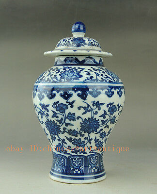 Chinese old Antique style Blue and white porcelain pot Qianlong Mark 将军罐 b02