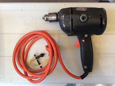 "Vintage Black & Decker Single Speed Drill 3/8"" With Case And Chuck"