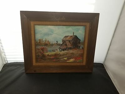 Unsigned Oil On Board Shack By The River In Fall Possibly European 12X14 Framed