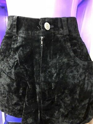 VINTAGE Black Crushed Velvet Shorts Size 10? Ideal With Thigh Boots 1960s GoGo