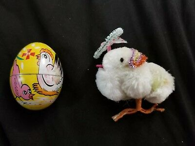 Vintage Easter Chick And Egg chenille with hat Japan metal egg