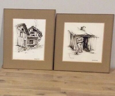 J Rutherford Art Originals 2 Watercolours 1-Norwegian Farmhouses 1-The Old Shed