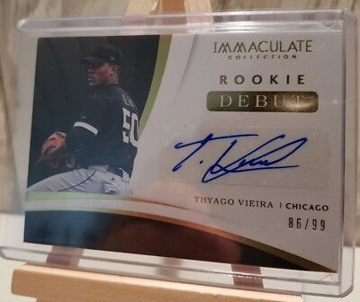 2018 Panini Immaculate Thyago Viera Chicago White Sox Rookie Debut Auto /99