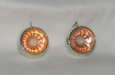 Pair of Vintage Unique Glass Christmas Ornaments, Silver Concave Mid-Century