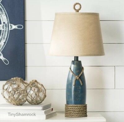 "Coastal Beach Nautical Table Lamp 26"" Bouy Cottage Decor Accent Lighting Rope"