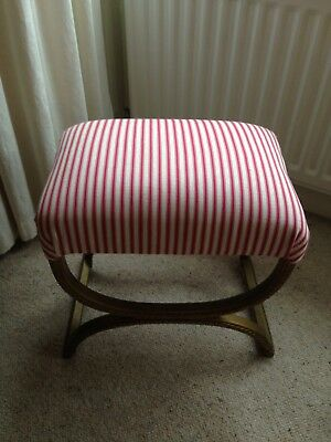 Vintage Retro Mid Century upholstered Dressing Table Stool, Lloyd loom style