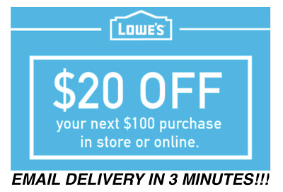 TEN (10x) Lowes $20 OFF $100 InStore and Online10Coupons-Fast_Delivery EXP 5/24
