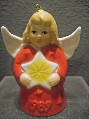 Goebel Angel-Bell Red Gown Annual Christmas Tree Ornament 1989 14Th Edition