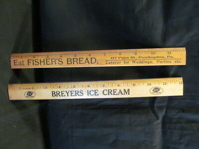 PAIR Vintage Advertising Wooden Rulers Breyers Ice Cream / Fisher's Bread
