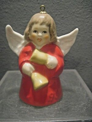 Goebel Angel-Bell Red Gown Annual Christmas Tree Ornament 1986 11Th Edition