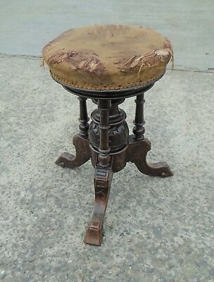 Antique Victorian Rise & Fall Piano Stool       Free Uk Postage