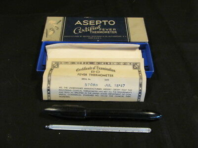 Vintage 1947 Ballo Inst Co Asepto Fever Thermometer in Original Box