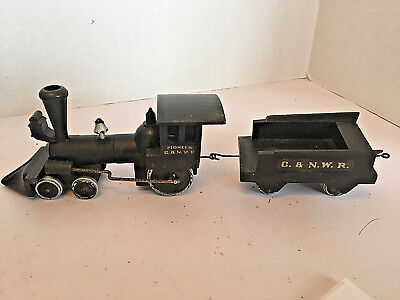 Vintage Unmarked Wooden Hand Assembled & Painted Model Railroad Train 2 piece