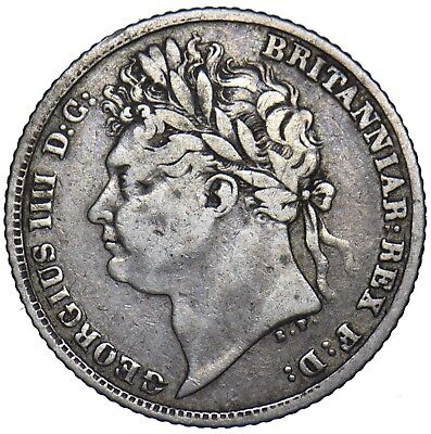 1821 Sixpence - George Iv British Silver Coin