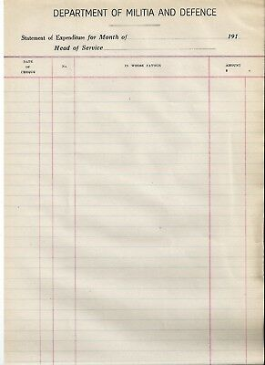 WW1 WWI Canadian Department of Militia and Defence statement of expenditure