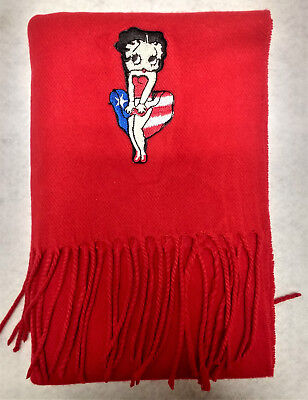 Red Cashmere Feel Scarf with Heat Applied Betty Boop Embroidered Applique