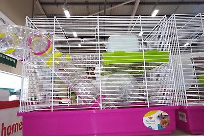 Hamster cage home with tunnels, house, wheel and feeding bottle