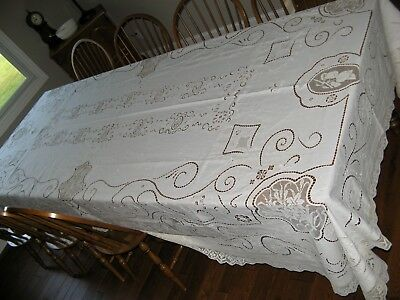 """Antique Embroidered Lace Tablecloth White 80 X 144"""" (dated 1919)  Excellent"""