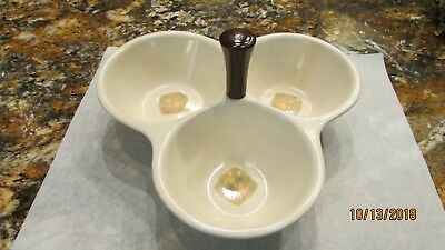 Vintage Vernon Ware Country Cousin Mid Century attached 3 bowl condiment server
