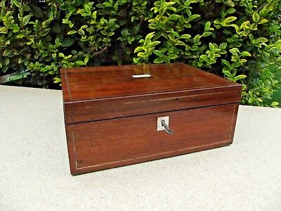 Antique Wooden Writing Slope Box With Lock & Key