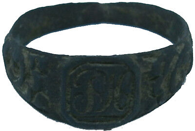 RUSSIAN EMPIRE Ring with initial 17-19th Bronze Russia Eastern Europe