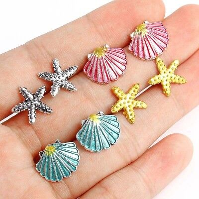 4 Pairs Boho Assorted Stud Earrings Colorful Sea Shell Starfish Beach Jewelry