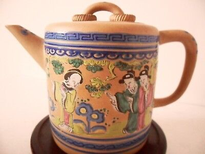 Antique Chinese Yixing Enamelled  Teapot & Cover
