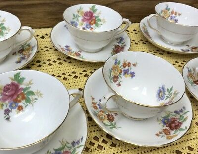 Tuscan Fine English Bone China Set Of 6 Floral Bouquet Cup & Saucer -Vintage