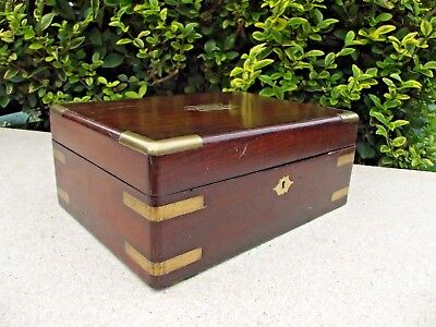 Antique Wooden Brass Inlaid Box