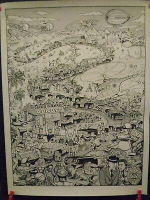 """Old Police Theme Humorous Police Print, """"end Of Pursuit"""", By Michael, 1988, L@@k"""