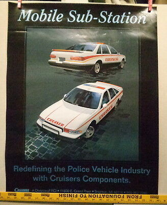 Cruisers Police Car Poster, Experimental Cop Car That Was Never Built, Rare