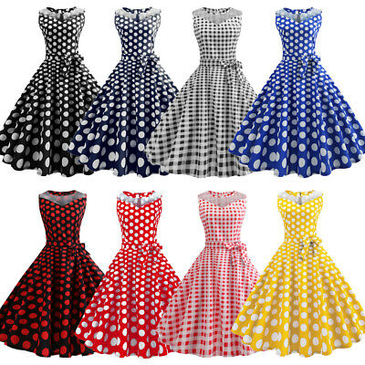 Plus Womens Polka Dot Solid Retro Vintage Style Cocktail Party Swing Dress