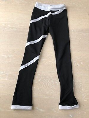Chloe Noel Ice Skating Trousers. Black/ white trim and diamanté's. Age 12-14