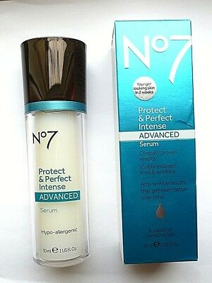 BOOTS No7 PROTECT AND & PERFECT INTENSE ADVANCED SERUM 30ml  PUMP BOTTLE