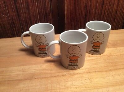 """Lot Of 3 Peanuts """"GOOD GRIEF"""" Coffee Mugs Charles Schultz White 12 Oz Left Hand."""