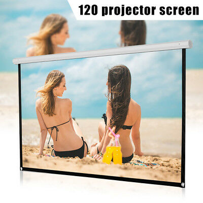 KE_ 16:9 Manual Projector Screen Outdoor Movie Theater White 60/72/84/100/120""