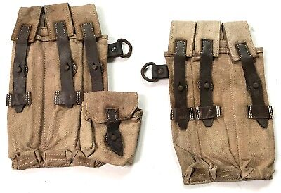 Wwii German Mp Ammo Pouches- Aged & Weathered
