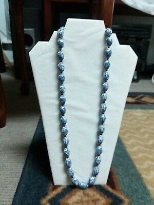 """Mint CONDITION! RARE 1900s blue & white porcelain """"Ming dynasty""""like beaded neck"""