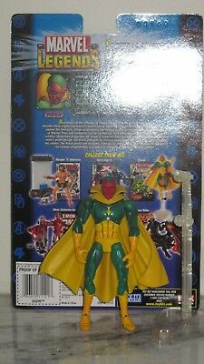 Marvel Legends Figure Series 7 Vii Toy Biz Vision With Card Back, Comic, & Stand