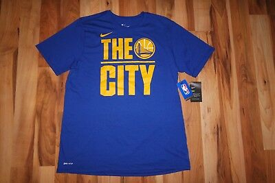 sale retailer 082b3 ae91f NIKE NBA GSW Golden State Warriors Logo THE CITY DRI-FIT DRY Tee T-