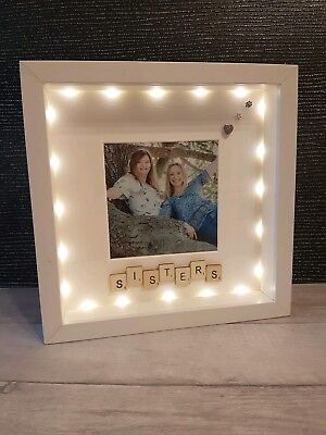 Personalised Light Up Family Sisters Photo Box Frame Christmas Gift