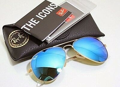 100%genuine Ray Ban Aviator RB3025 112/17/58mm Gold Frame Aqua Blue Mirrored GLS