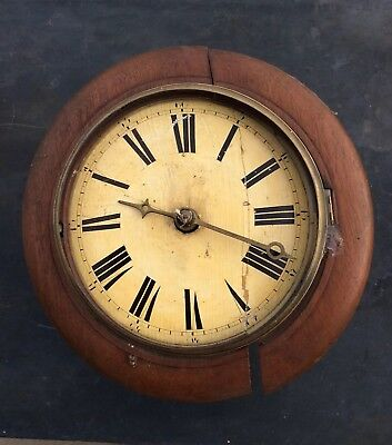 Antique Wall Clock Dial, Movement And Surround for Restoration