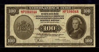 Netherlands Indies 100 Gulden 1943 Indonesia ABNC P117 VF+