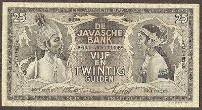 Netherlands Indies 25 Gulden 1939 Javanese Dancers Indonesia P80b VF