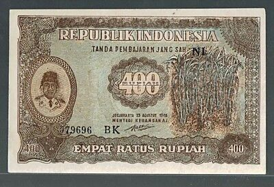 Indonesia 400 Rupiah 1948 23.08.1948 Sukarno (color type2) P35 AU