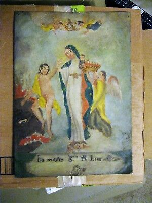 Original Antique Retablo On Tin Our Lady Of Light Great Condition 10'' By 14''