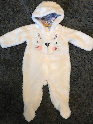 Mothercare Baby Girls White Bunny Fur Sleepsuit Snowsuit Winter Coat 3 Months